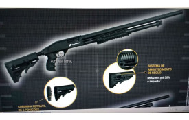 "Espingarda CBC Pump Military 3.0 Calibre 12 Cano 24"" - Coronha retrátil-cutelaria-costal"